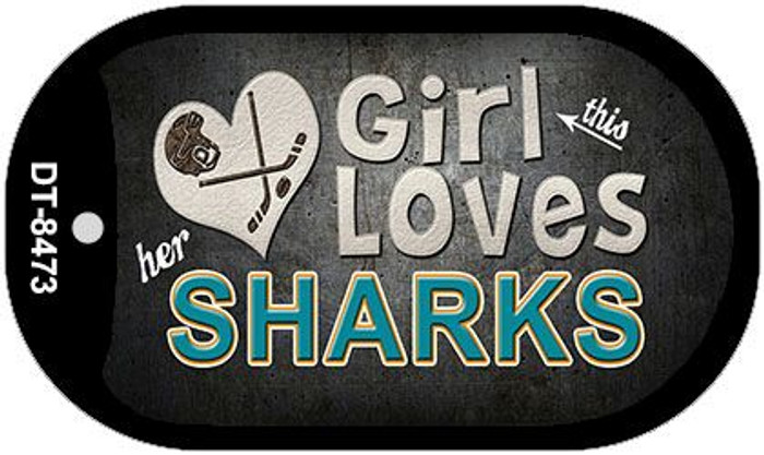 This Girl Loves Her Sharks Wholesale Novelty Metal Dog Tag Necklace DT-8473