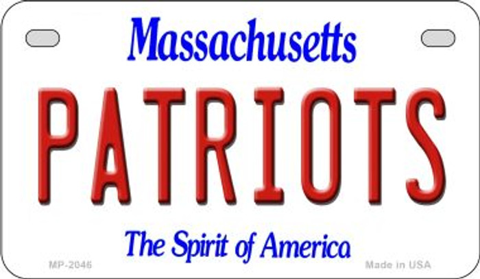 Patriots Massachusetts Wholesale Novelty Metal Motorcycle Plate MP-2046