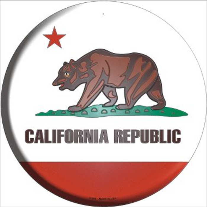 California State Flag Wholesale Metal Circular Sign