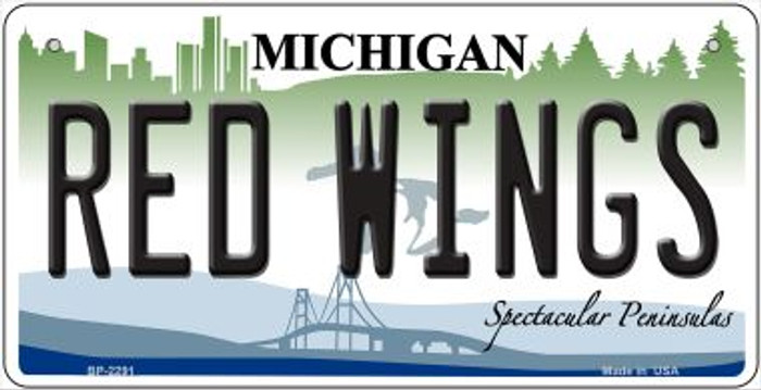 Red Wings Michigan Wholesale Novelty Metal Bicycle Plate BP-2291