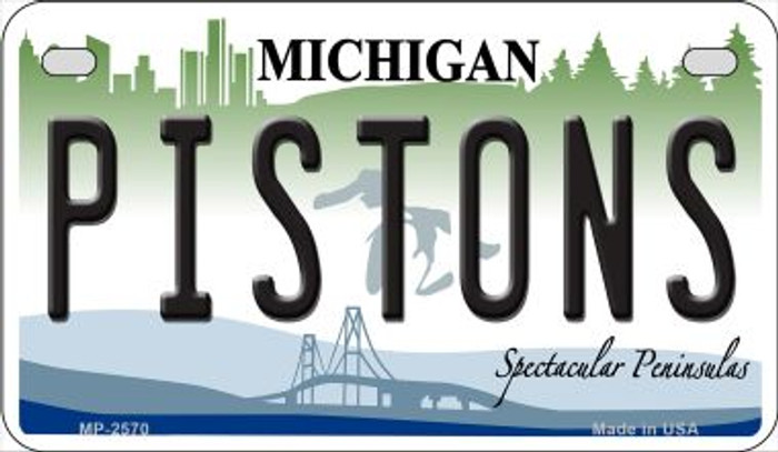 Pistons Michigan Wholesale Novelty Metal Motorcycle Plate MP-2570
