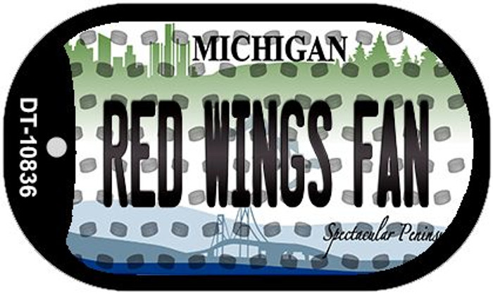 Red Wings Fan Michigan Wholesale Novelty Metal Dog Tag Necklace DT-10836