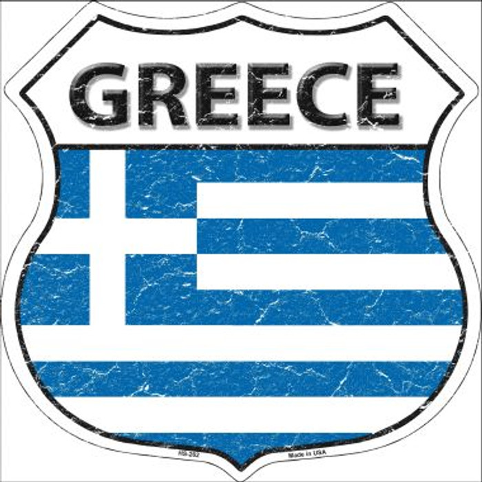 Greece Country Flag Highway Shield Wholesale Metal Sign