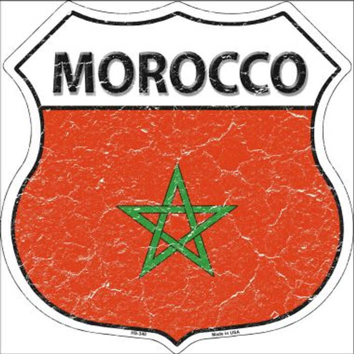 Morocco Country Flag Highway Shield Wholesale Metal Sign