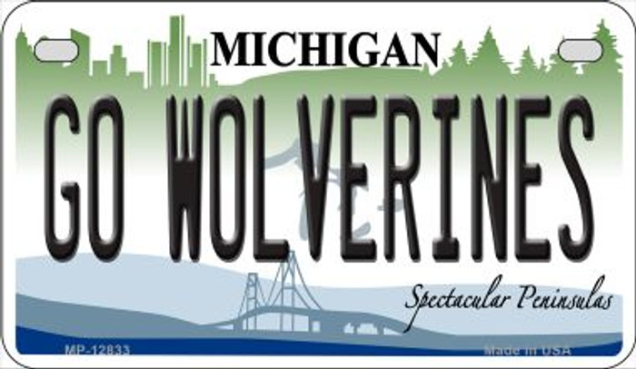 Go Wolverines Wholesale Novelty Metal Motorcycle Plate MP-12833