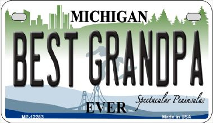 Michigan Best Grandpa Wholesale Novelty Metal Motorcycle Plate MP-12283