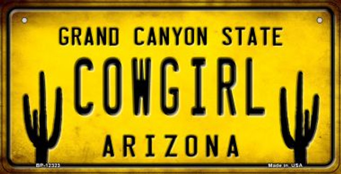 Arizona Cowgirl Wholesale Novelty Metal Bicycle Plate BP-12323