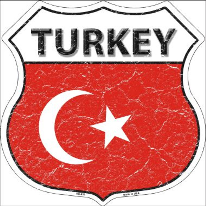Turkey Country Flag Highway Shield Wholesale Metal Sign