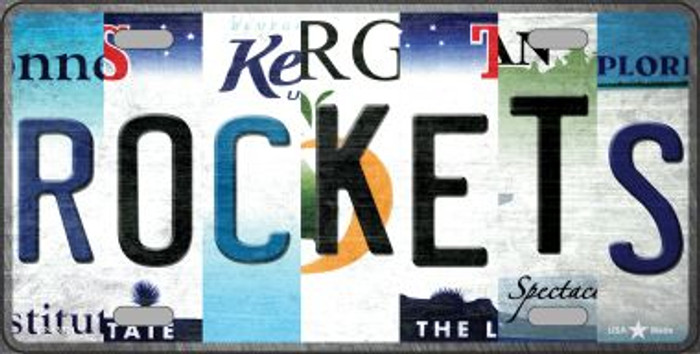 Rockets Strip Art Wholesale Novelty Metal License Plate Tag LP-13221