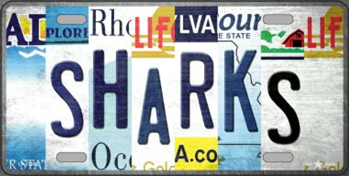Sharks Strip Art Wholesale Novelty Metal License Plate Tag LP-13268