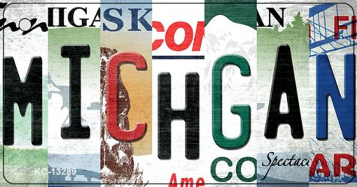 Michigan Strip Art Wholesale Novelty Metal Key Chain KC-13289