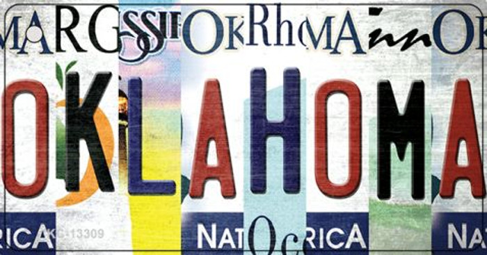 Oklahoma Strip Art Wholesale Novelty Metal Key Chain KC-13309