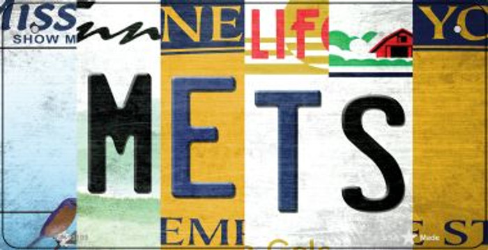 Mets Strip Art Wholesale Novelty Metal Bicycle Plate BP-13199