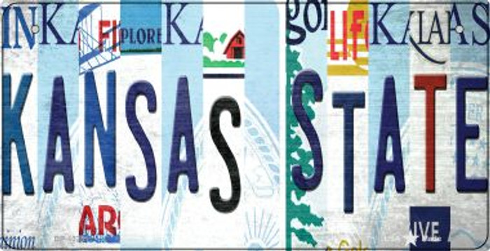 Kansas State Strip Art Wholesale Novelty Metal Bicycle Plate BP-13281