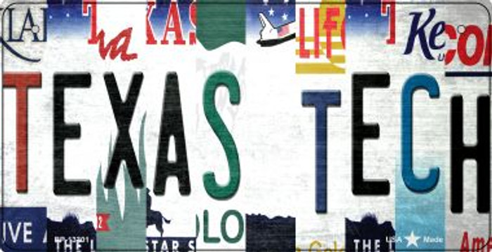 Texas Tech Strip Art Wholesale Novelty Metal Bicycle Plate BP-13301