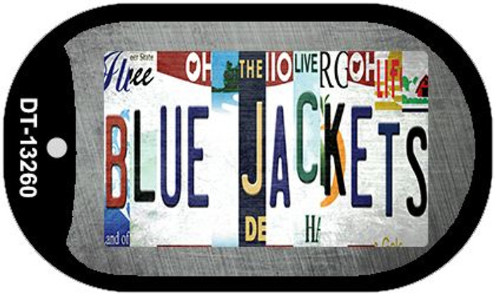 Blue Jackets Strip Art Wholesale Novelty Metal Dog Tag Necklace DT-13260