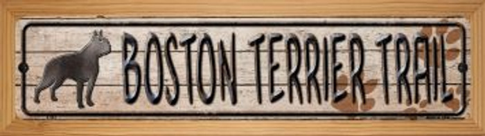 Boston Terrier Trail Wholesale Novelty Wood Mounted Metal Mini Street Sign WB-K-043