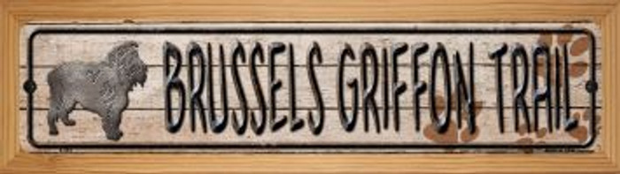 Brussels Griffon Trail Wholesale Novelty Wood Mounted Metal Mini Street Sign WB-K-044
