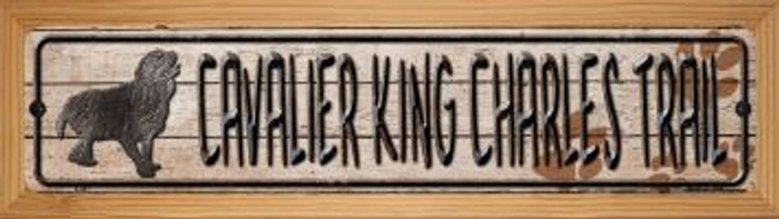 Cavalier King Charles Trail Wholesale Novelty Wood Mounted Metal Small Street Sign WB-K-047