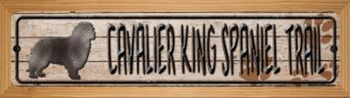 Cavalier King Spaniel Trail Wholesale Novelty Wood Mounted Metal Small Street Sign WB-K-048