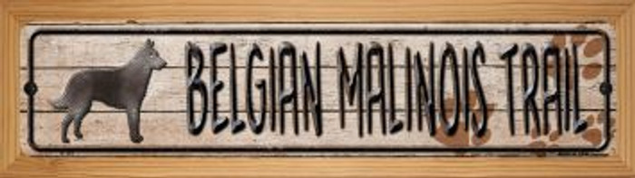 Belgian Malinois Trail Wholesale Novelty Wood Mounted Metal Mini Street Sign WB-K-101