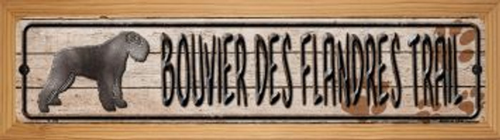 Bouvier Des Flandres Trail Wholesale Novelty Wood Mounted Metal Small Street Sign WB-K-106