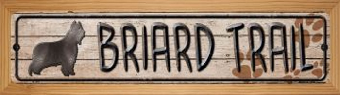 Briard Trail Wholesale Novelty Wood Mounted Metal Small Street Sign WB-K-107