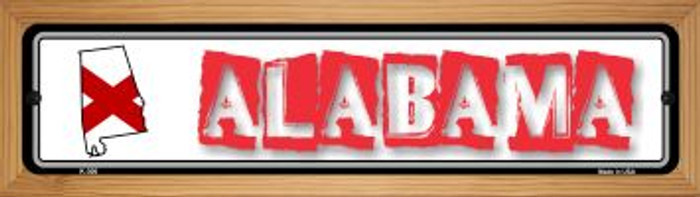 Alabama State Outline Wholesale Novelty Wood Mounted Metal Mini Street Sign WB-K-300