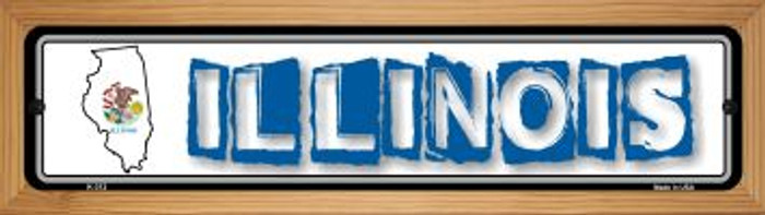 Illinois State Outline Wholesale Novelty Wood Mounted Metal Mini Street Sign WB-K-312