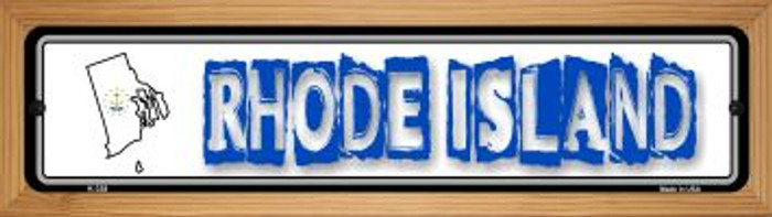 Rhode Island State Outline Wholesale Novelty Wood Mounted Metal Small Street Sign WB-K-338