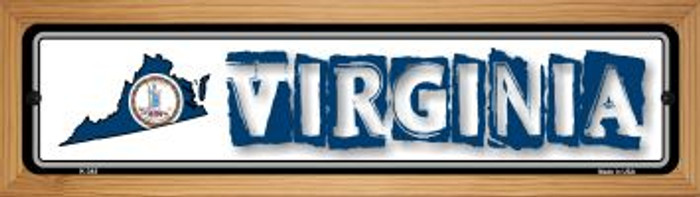 Virginia State Outline Wholesale Novelty Wood Mounted Metal Small Street SignWB-K-345