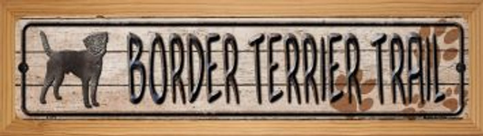 Border Terrier Trail Wholesale Novelty Wood Mounted Metal Small Street Sign WB-K-479