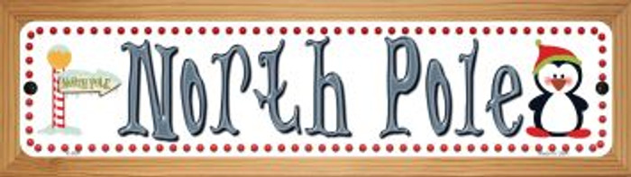 North Pole Wholesale Novelty Wood Mounted Metal Small Street Sign WB-K-504