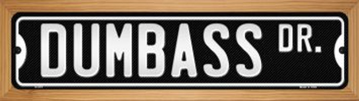 Dumbass Dr Wholesale Novelty Wood Mounted Metal Small Street Sign WB-K-575