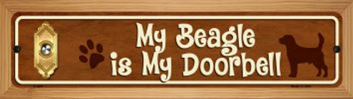 Beagle Is My Doorbell Wholesale Novelty Wood Mounted Metal Mini Street Sign WB-K-627