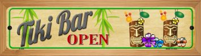 Tiki Bar Open Wholesale Novelty Wood Mounted Metal Small Street Sign WB-K-648