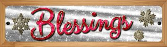 Blessings With Snowflakes Wholesale Novelty Wood Mounted Metal Small Street Sign WB-K-655