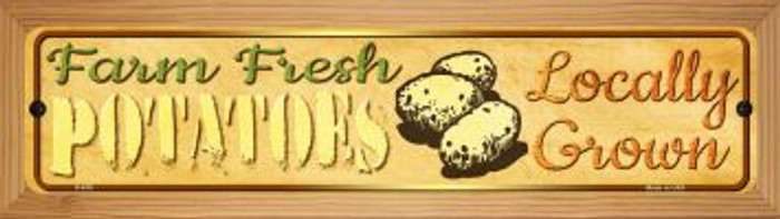 Farm Fresh Potatoes Wholesale Novelty Wood Mounted Metal Small Street Sign WB-K-679