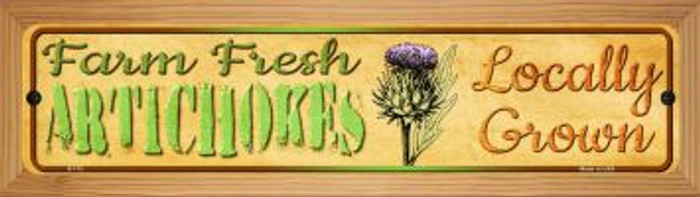 Farm Fresh Artichokes Wholesale Novelty Wood Mounted Metal Small Street Sign WB-K-712