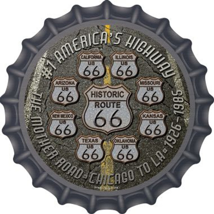 Route 66 Black Top Wholesale Novelty Metal Bottle Cap BC-657