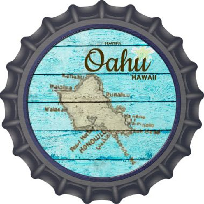 Oahu Hawaii Map Wholesale Novelty Metal Bottle Cap BC-820