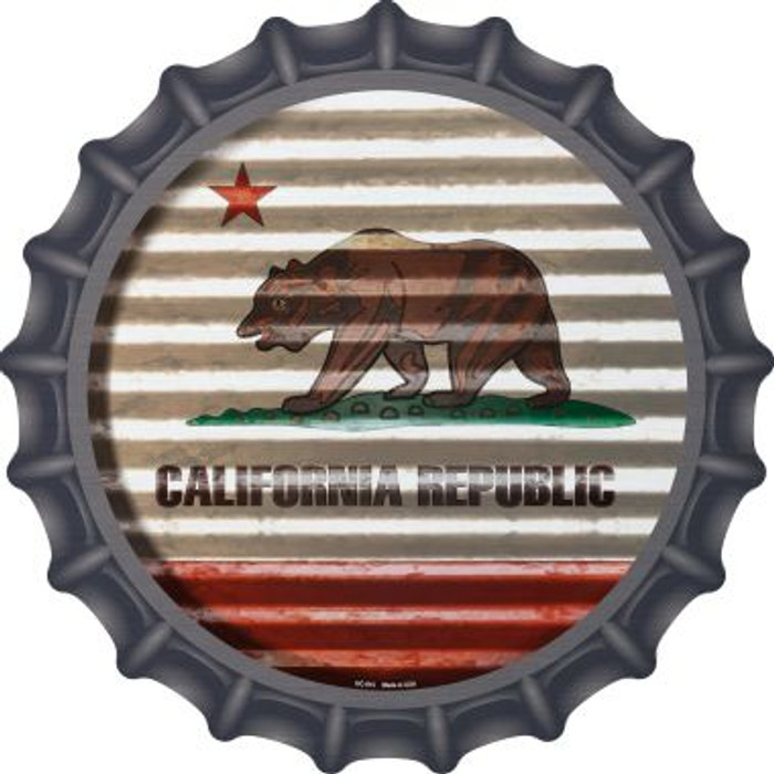 California Flag Corrugated Effect Wholesale Novelty Metal Bottle Cap BC-915