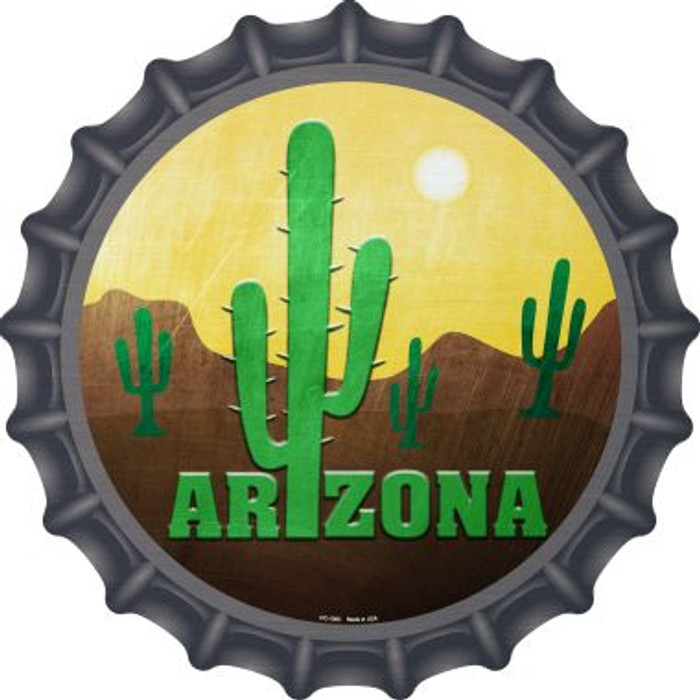Arizona with Saguaro Wholesale Novelty Metal Bottle Cap BC-1005