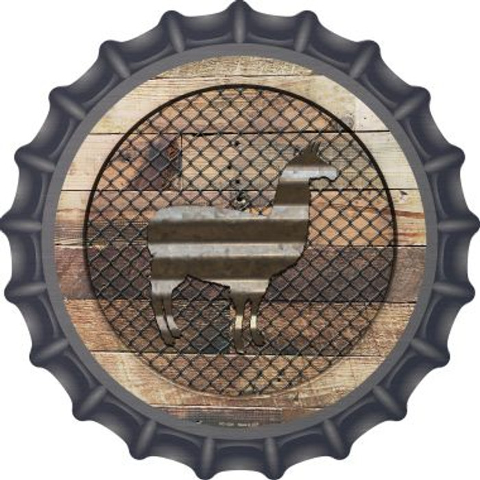 Corrugated Llama on Wood Wholesale Novelty Metal Bottle Cap BC-1039
