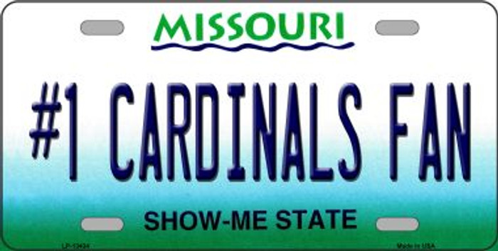 Number 1 Cardinals Fan Wholesale Novelty Metal License Plate Tag LP-13434