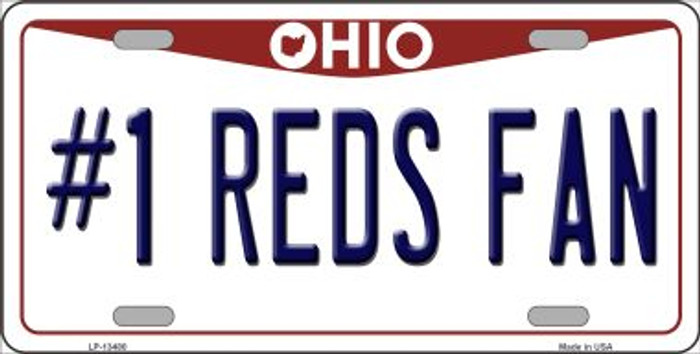Number 1 Reds Fan Wholesale Novelty Metal License Plate Tag LP-13480