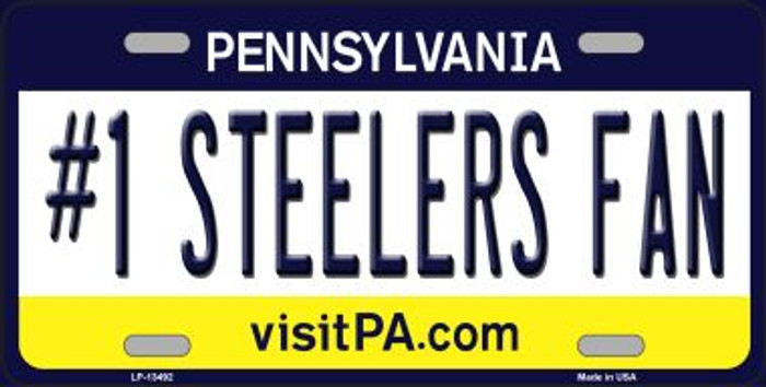 Number 1 Steelers Fan Wholesale Novelty Metal License Plate Tag LP-13492