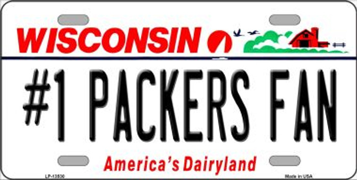 Number 1 Packers Fan Wholesale Novelty Metal License Plate Tag LP-13530