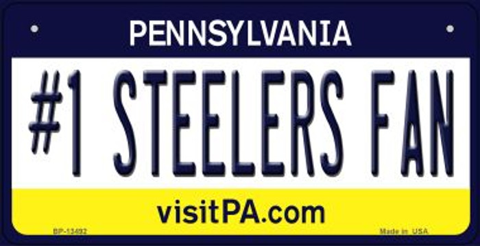 Number 1 Steelers Fan Wholesale Novelty Metal Bicycle Plate BP-13492