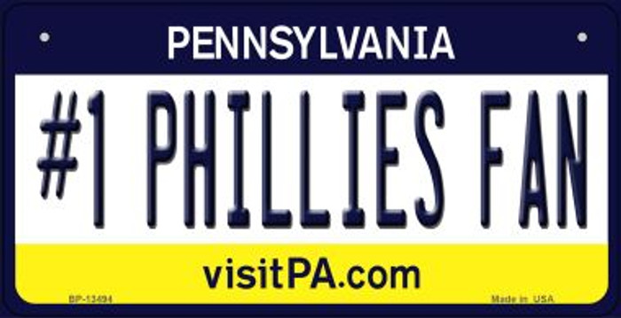 Number 1 Phillies Fan Wholesale Novelty Metal Bicycle Plate BP-13494